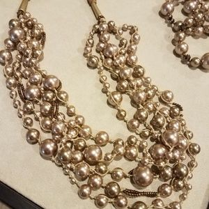 Chico's 5 strand champagne color pearls & bracelet